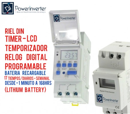 TIMER DIGITAL PROGRAMABLE 12VDC/16A