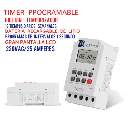 TIMER DIGITAL PROGRAMABLE 220VAC/25A